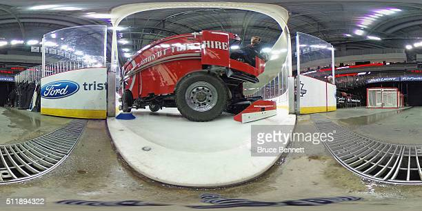 A general view of the arena and the ice resurfacing machine prior to the game between the New Jersey Devils and the New York Rangers at the...