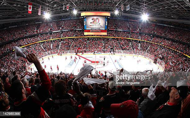 A general view of the arena as fans wave towels before the first home game between the Ottawa Senators and the New York Rangers in Game Three of the...