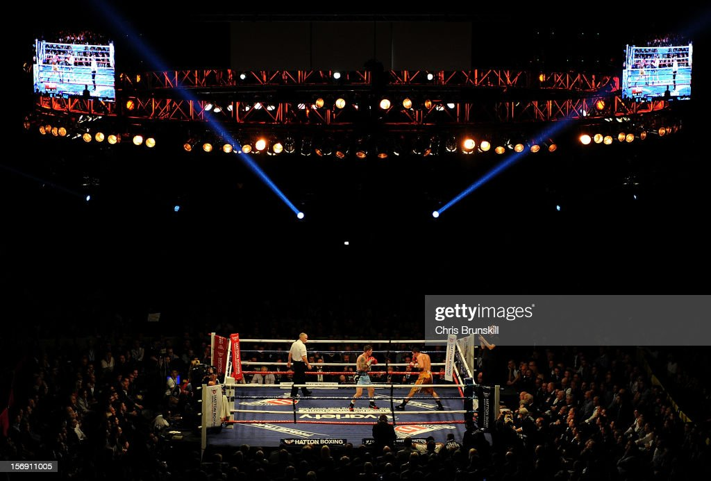 A general view of the arena as Ricky Hatton of Great Britain takes on Vyacheslav Senchenko of Ukraine during their welterweight bout at MEN Arena on November 24, 2012 in Manchester, England.