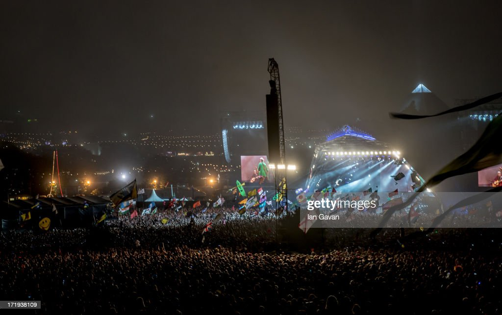 General view of the arena as The Rolling Stones perform on the Pyramid Stage during day 3 of the 2013 Glastonbury Festival at Worthy Farm on June 29, 2013 in Glastonbury, England.