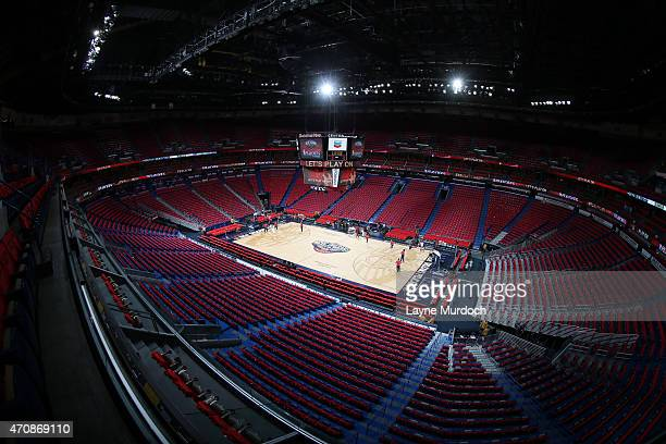 A general view of the arena before a game between the Golden State Warriors and New Orleans Pelicans in Game Three of the Western Conference...