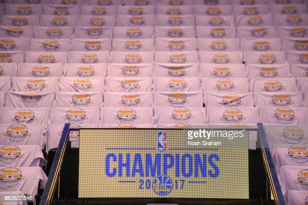 A general view of the arena before the game between the Golden State Warriors and the Houston Rockets on October 17 2017 at ORACLE Arena in Oakland...