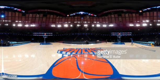 A general view of the arena before the game between the Washington Wizards and the New York Knicks on April 6 2017 at Madison Square Garden in New...