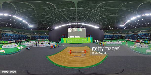 General view of the arena before the men's 69kg weightlifting competition as a test event for 2016 Rio Olympics at the Olympic Park on April 8 2016...