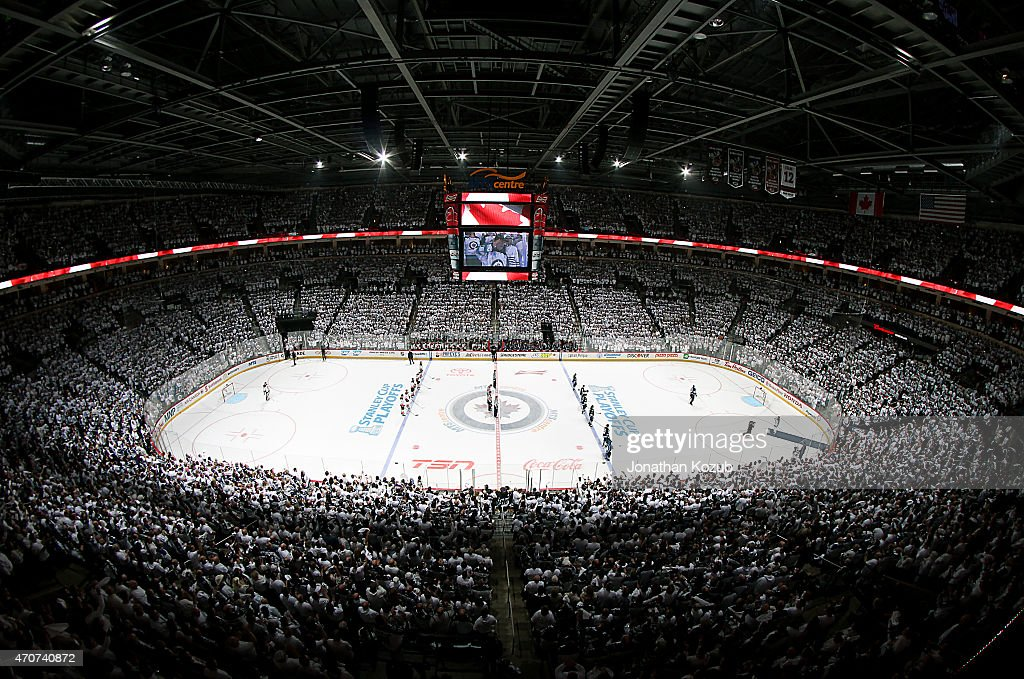 A general view of the arena bowl during the singing of 'O Canada' prior to puck drop between the Winnipeg Jets and the Anaheim Ducks in Game Four of...