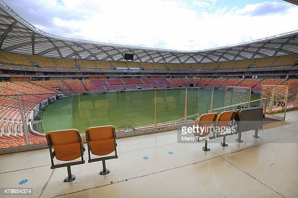 A general view of the Arena de Amazonia June 26 2015 in Manaus Brazil The arena was constructed for $300 million as one of the host sites for the...