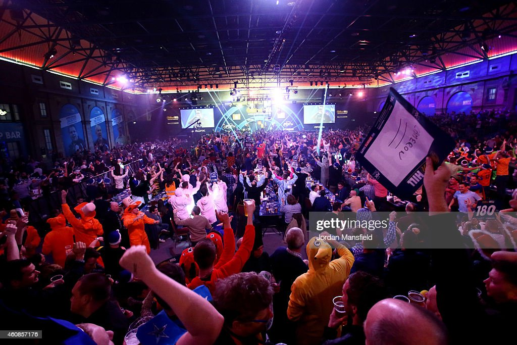 A general view of the arena during Day Seven of the William Hill PDC World Darts Championships at Alexandra Palace on December 27 2014 in London...