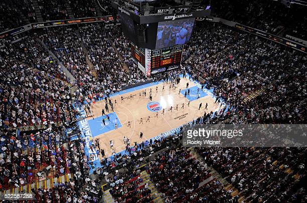 A general view of the arena during the final game at Sleep Train Arena between the Oklahoma City Thunder and Sacramento Kings on April 9 2016 at...