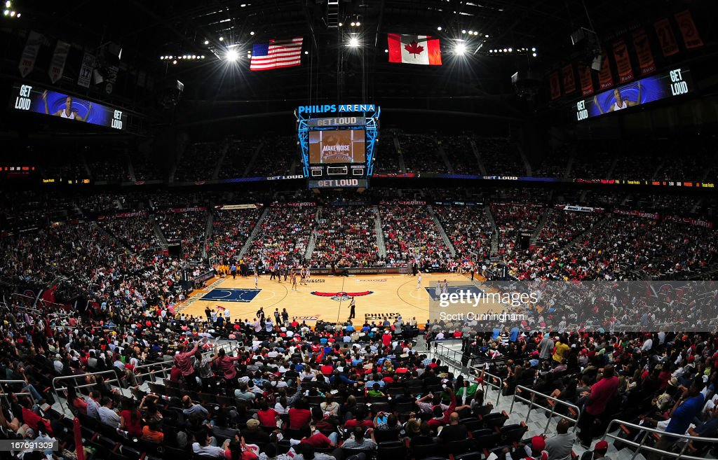 General view of the arena during the Game Three of the Eastern Conference Quarterfinals between the Indiana Pacers and the Atlanta Hawks in the 2013 NBA Playoffs on April 27, 2013 at Philips Arena in Atlanta, Georgia.