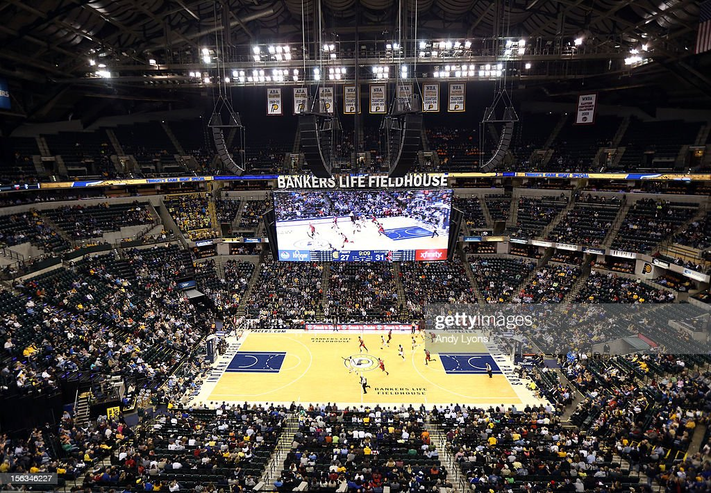 General view of the arena during the Indiana Pacers NBA game against the Toronto Raptors at Bankers Life Fieldhouse on November 13, 2012 in Indianapolis, Indiana.