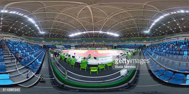 A general view of the arena during the International Judo Tournament Aquece Rio Test Event for the Rio 2016 Olympics at the Olympic Park on March 9...