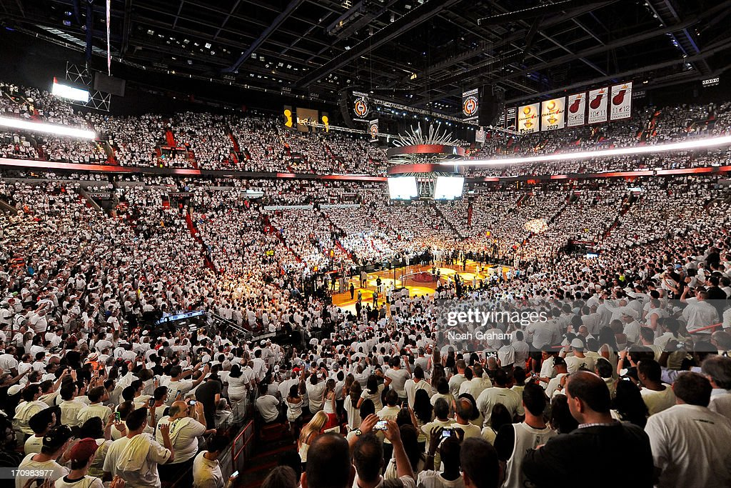 A general view of the arena during the opening ceremonies before the San Antonio Spurs played the Miami Heat in Game Seven of the 2013 NBA Finals on June 20, 2013 at American Airlines Arena in Miami, Florida.