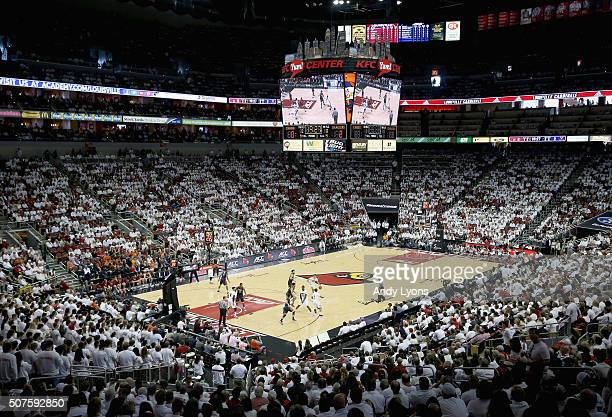 General view of the arena during the Virginia Cavaliers game against the Louisville Cardinals at KFC YUM Center on January 30 2016 in Louisville...
