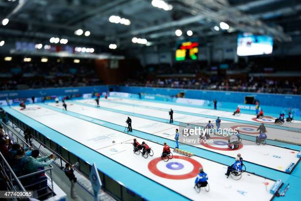 A general view of the arena during the wheelchair curling mixed round robin session 4 matches at the Ice Cube Curling Center on March 9 2014 in Sochi...
