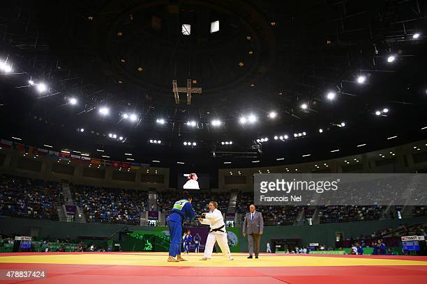 A general view of the arena during the Women's team match between Russia and Poland on day sixteen of the Baku 2015 European Games at Heydar Aliyev...