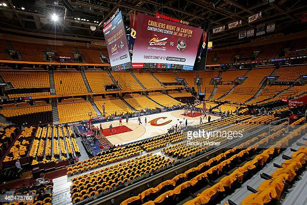 A general view of the arena prior to the game between the Oklahoma City Thunder and Cleveland Cavaliers on January 25 2015 at Quicken Loans Arena in...