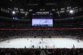 A general view of the arena shows the new jumbotron over center ice as the Los Angeles Kings face the Colorado Avalanche during their preseason game...