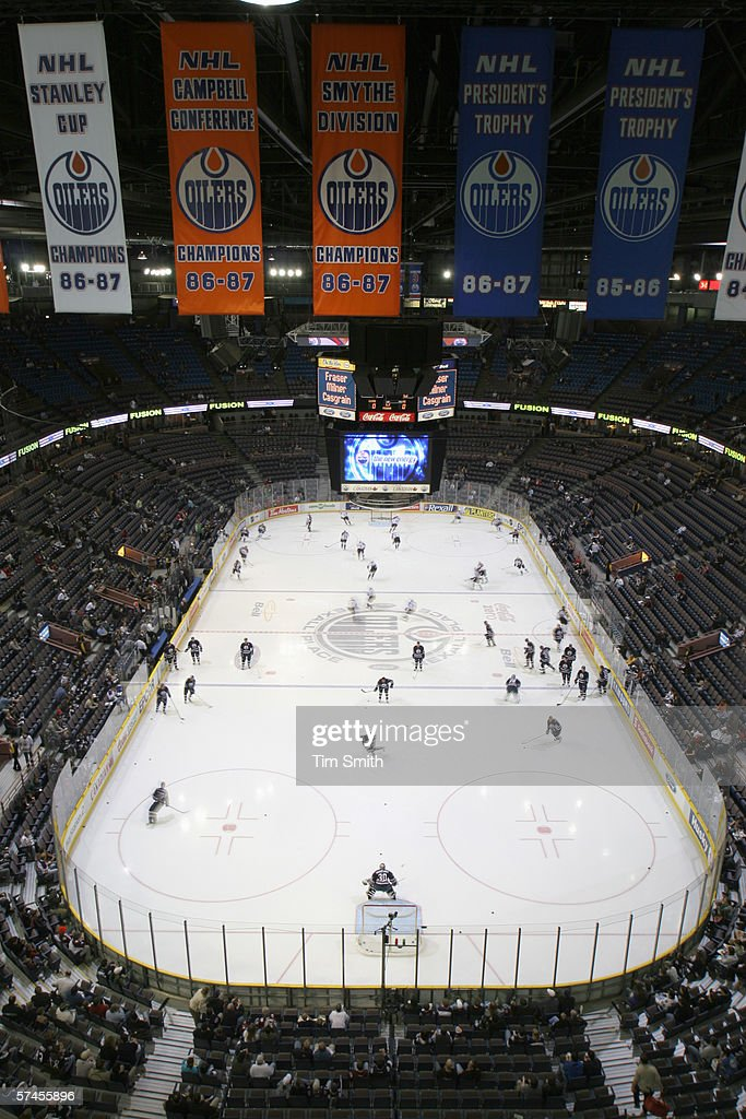 A general view of the arena taken during practice before the game between the Edmonton Oilers and the Colorado Avalanche on April 17 2006 at Rexall...