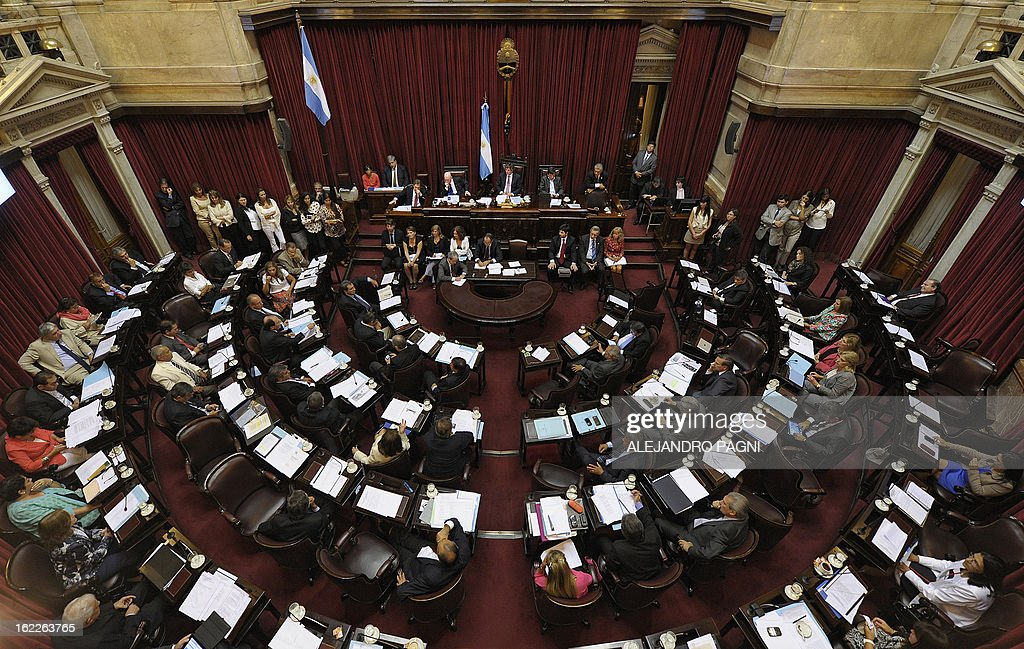 A general view of the Argentine senate in Buenos Aires on February 21, 2013, as they discuss the possibility of an agreement with Iran to establish a truth commission over a terrorist attack that took place in 1994. Eight Iranian nationals are still wanted in connection with the bombing of the Argentine Israelite Mutual Association (AMIA is Spanish), leaving 85 dead and 300 wounded. AFP PHOTO/Alejandro Pagni