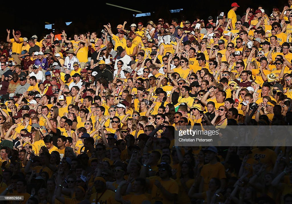 General view of the Arizona State Sun Devils fan student section during the college football game against the Washington Huskies at Sun Devil Stadium on October 19, 2013 in Tempe, Arizona. The Sun Devils defeated the Huskies 53-24.