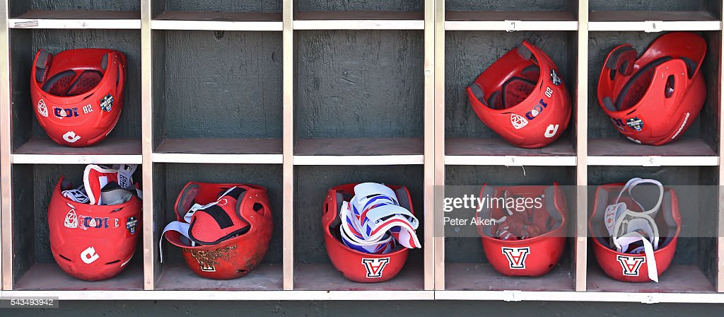 A general view of the Arizona Wildcats helmet rack in the dugout prior to game two of the College World Series Championship Series against the Coastal Carolina Chanticleers on June 28, 2016 at TD Ameritrade Park in Omaha, Nebraska.