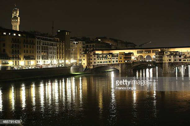 A general view of the Arno river is seen on the night prior to the final verdict of Amanda Knox and Raffaele Sollecito retrial on January 29 2014 in...