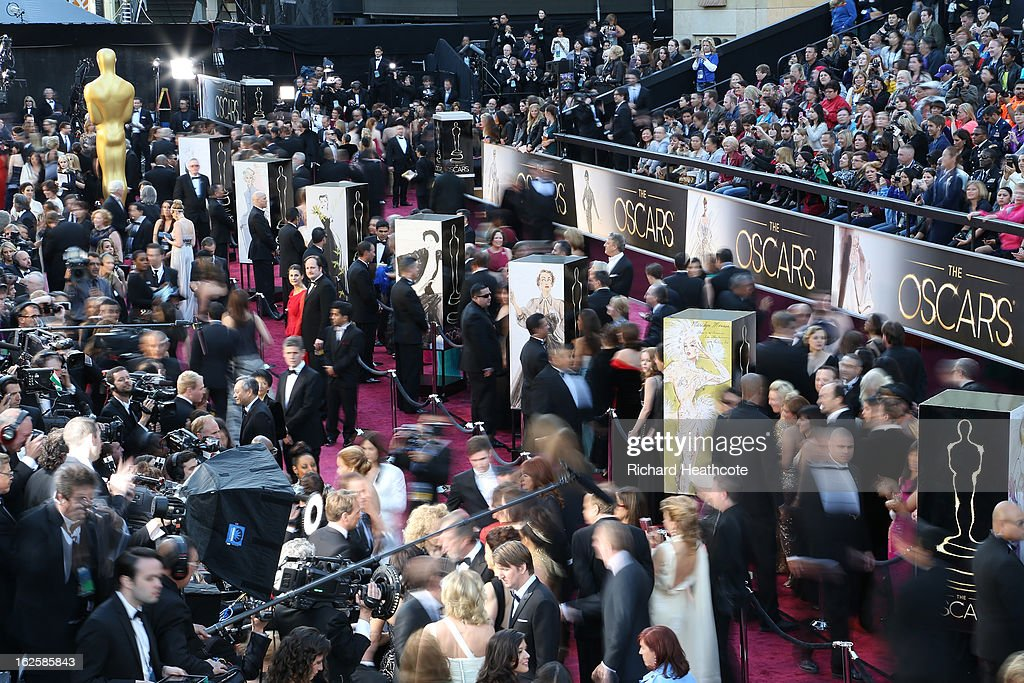 A general view of the arrivals at the Oscars held at Hollywood & Highland Center on February 24, 2013 in Hollywood, California.