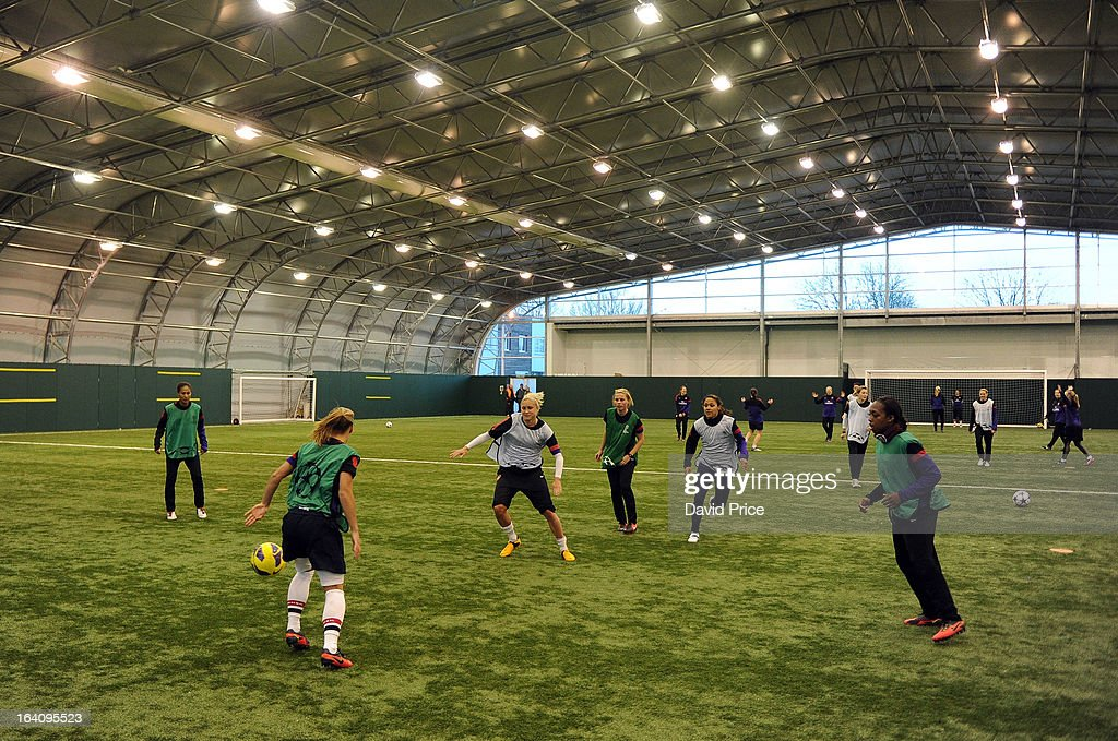 General view of the Arsenal Ladies Training Session at Arsenal Training Ground on March 19, 2013 in St. Albans, Hertfordshire, England.