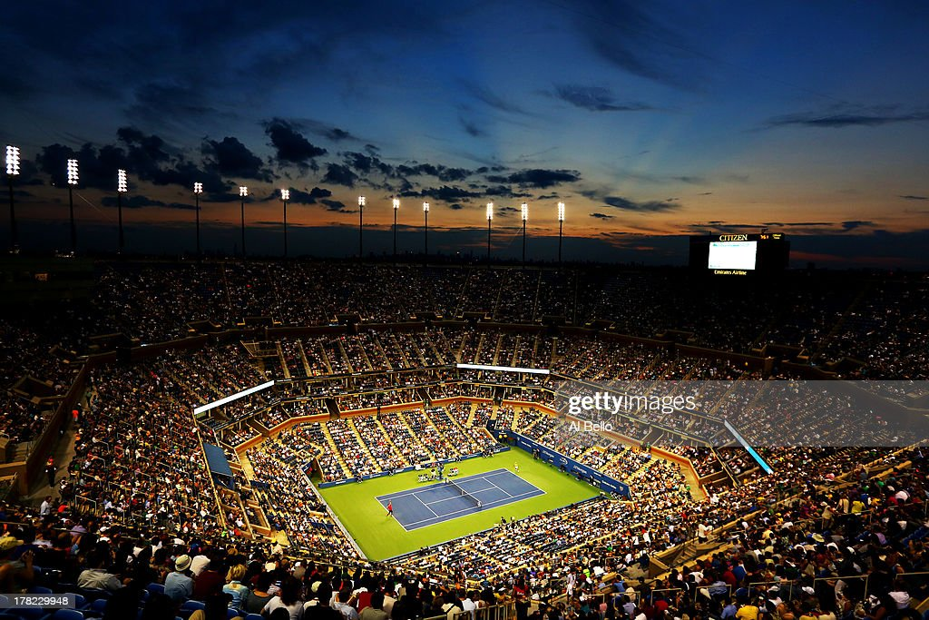 A general view of the Arthur Ashe Stadium during the men's singles first round match between Novak Djokovic of Serbia and Ricardas Berankis of Lithuania on Day Two of the 2013 US Open at USTA Billie Jean King National Tennis Center on August 27, 2013 in the Flushing neighborhood of the Queens borough of New York City.