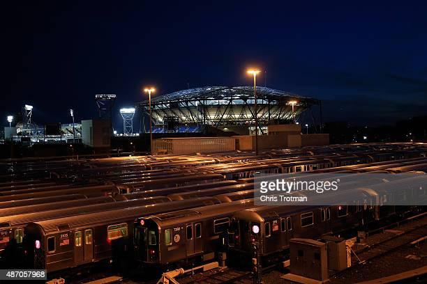 A general view of the Arthur Ashe Stadium on day six of the 2015 US Open at the USTA Billie Jean King National Tennis Center on September 5 2015 in...