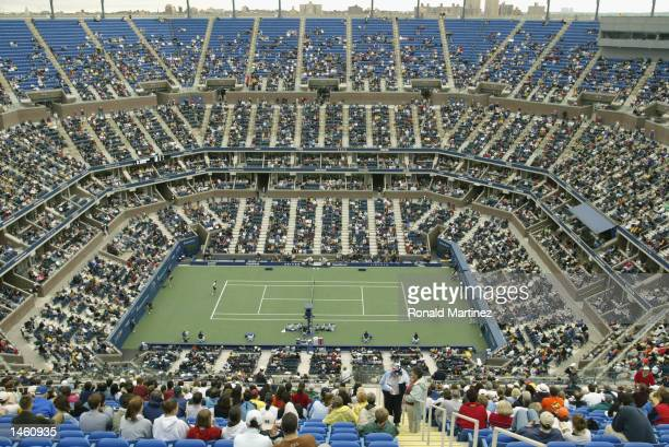 A general view of the Arthur Ashe Stadium taken during the US Open August 30 2002 at the USTA National Tennis Center in Flushing Meadows Corona Park...