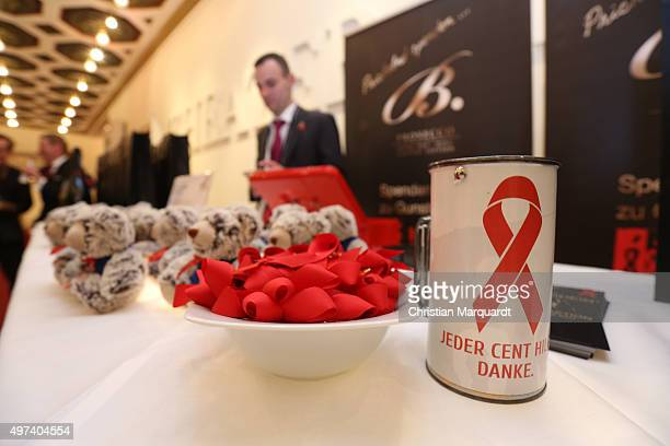 A general view of the Artists Against Aids Gala 2015 showes the logo of the Gala on November 16 2015 in Berlin Germany