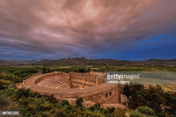 A general view of the Aspendos an ancient GrecoRoman city in Antalya Turkey on April 13 2017 Aspendos and Perga are two of the most touristic places...