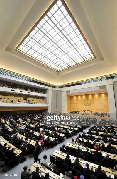 General view of the assembly hall during the opening day of the annual assembly of the World Health Organization attended by dozens of government...