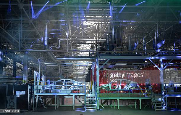 A general view of the assembly line of the Volvo S60L sedan at the Volvo's first China plant on August 28 2013 in Chengdu China Volvo's first China...