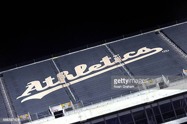 A general view of the Athetics logo durring the game between the Oakland Athletics and the Houston Astros at Oco Coliseum on September 5 2014 in...