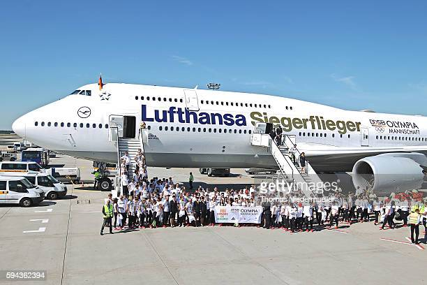 General view of the athletes during the arrival of German Summer Olympic Athletes from the Olympic Games in Rio at Frankfurt aiport on August 23 2016...