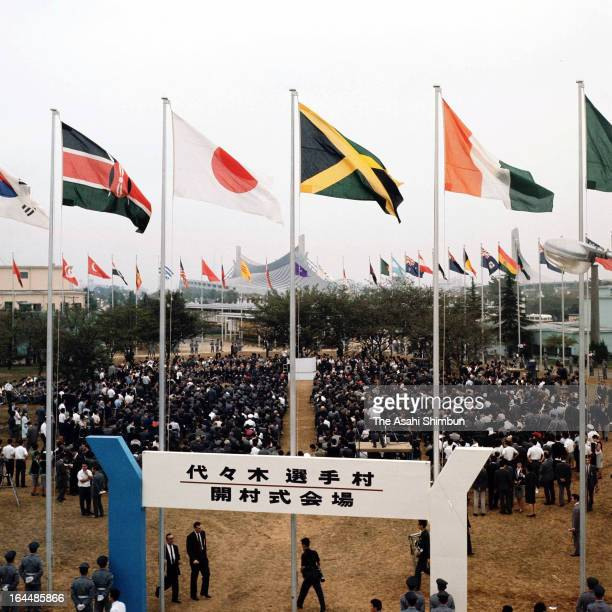 General view of the Athletes Village Opening Ceremony ahead of Tokyo Olympic on September 15 1964 in Tokyo Japan