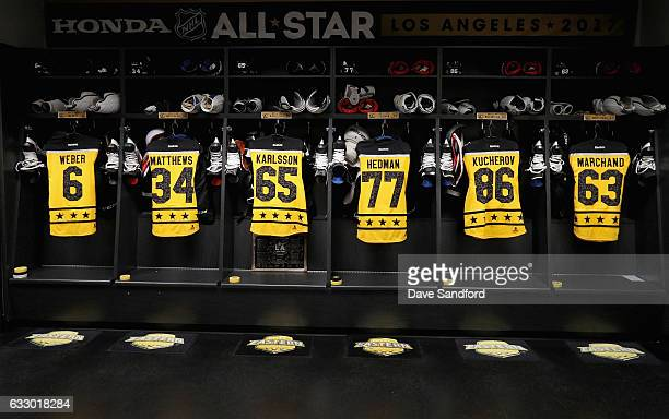 A general view of the Atlantic Division Team locker room is seen prior to the 2017 Honda NHL AllStar Game at Staples Center on January 29 2017 in Los...