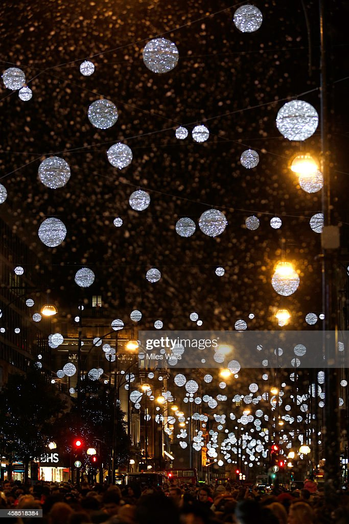 General view of the atmopshere at The World Famous Oxford Street Christmas Lights Switch On Event taking place at John Lewis' Flagship Store on...