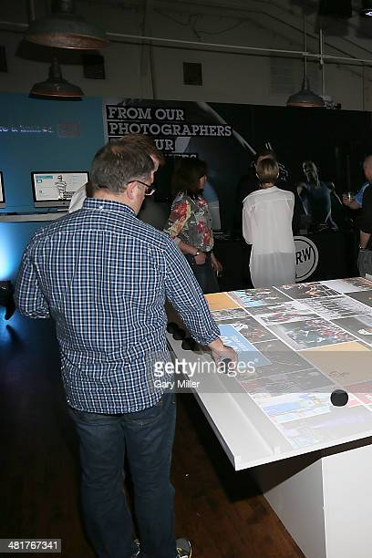 A general view of the atmosphere as Getty Images photographer Al Bello speaks about his defining career moments as a sports photographer at Getty...