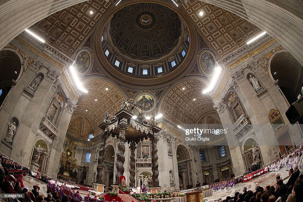 A general view of the atmosphere as Pope Francis celebrates Ash Wednesday Mass at St. Peter's Basilica on February 10, 2016 in Vatican City, Vatican. Ash Wednesday opens the liturgical 40 day period of Lent; encouraging prayer, fasting, penitence and alms giving, leading up to Easter. The Pontiff will leave on Friday for Cuba and Mexico where he will hold an unprecedented meeting with Patriarch Kirill of Moscow and All Russia on February 12th.