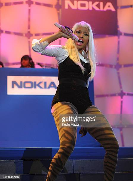 A general view of the atmosphere as Times Square was brought to a standstill on April 6 2012 as Nicki Minaj teamed up with Nokia to perform live for...