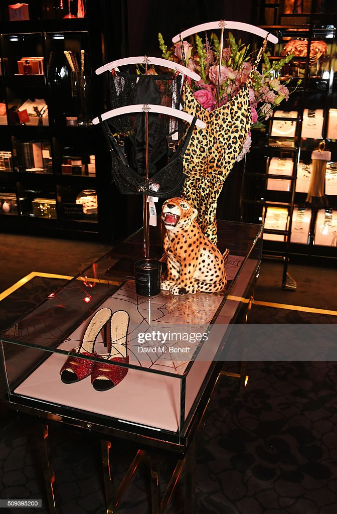 A general view of the atmosphere at an intimate cocktail event hosted at Agent Provocateur Grosvenor Street boutique to celebrate the launch of the Agent Provocateur and Charlotte Olympia capsule collection on February 10, 2016 in London, England.