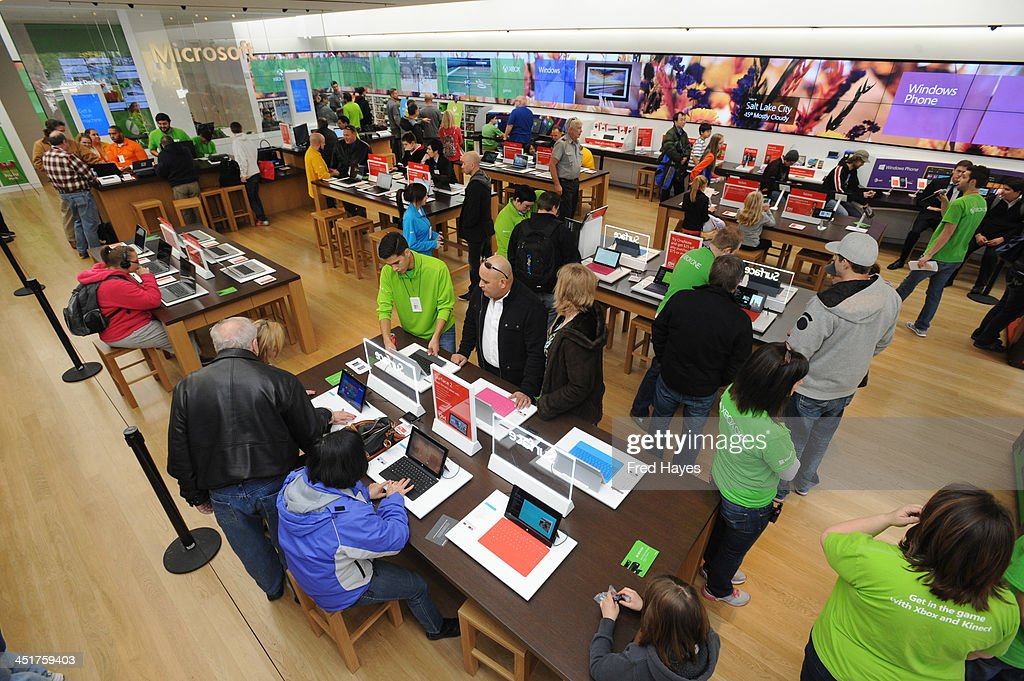 A general view of the atmosphere at Microsoft retail store and former Utah Jazz basketball player Mark Eaton host the Xbox One Sports Star Challenge event at City Creek Center on November 23, 2013 in Salt Lake City, Utah.