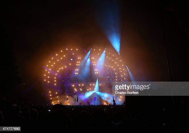 A general view of the atmosphere at Mysteryland USA an electronic music and arts festival hosted at Bethel Woods Art Center on May 24 2015 in Bethel...