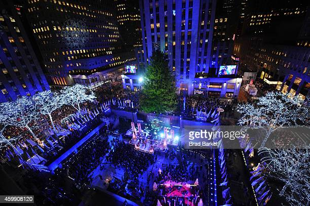 General view of the atmosphere at the 82nd annual Rockefeller Christmas Tree Lighting Ceremony at Rockefeller Center on December 3 2014 in New York...