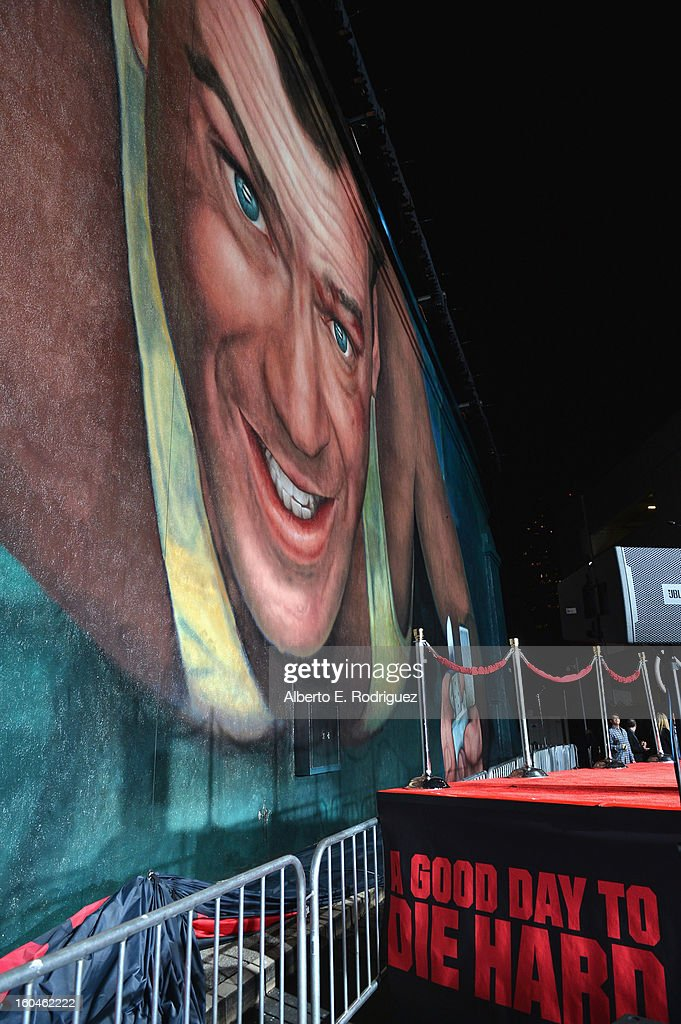 A general view of the atmosphere at the dedication and unveiling of a new soundstage mural celebrating 25 years of 'Die Hard' at Fox Studio Lot on January 31, 2013 in Century City, California.