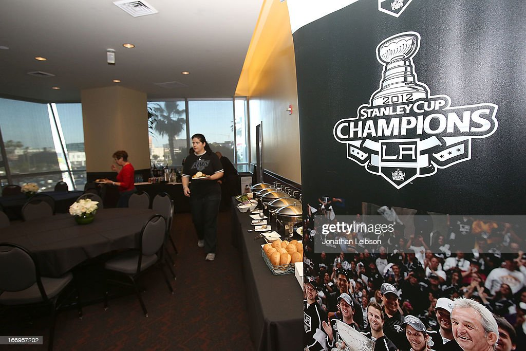 A general view of the atmosphere at the LA Kings Chalk Talk & Game Experience at Staples Center on April 18, 2013 in Los Angeles, California.