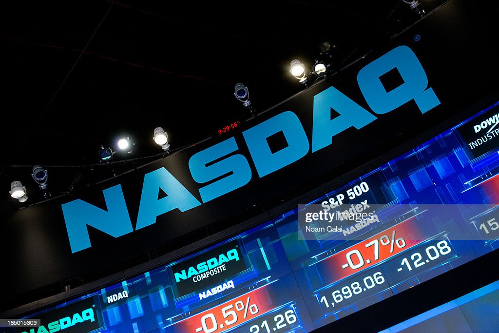 A general view of the atmosphere at the opening bell at NASDAQ MarketSite on October 16 2013 in New York City